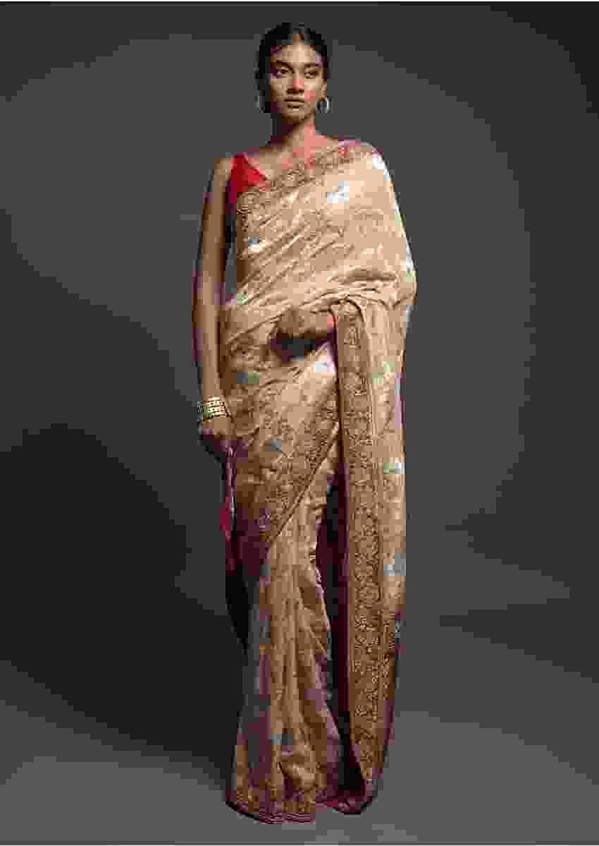 Sand Beige Saree In Georgette With Weaved Floral Jaal And Red Pallu And Border Online - Kalki Fashion