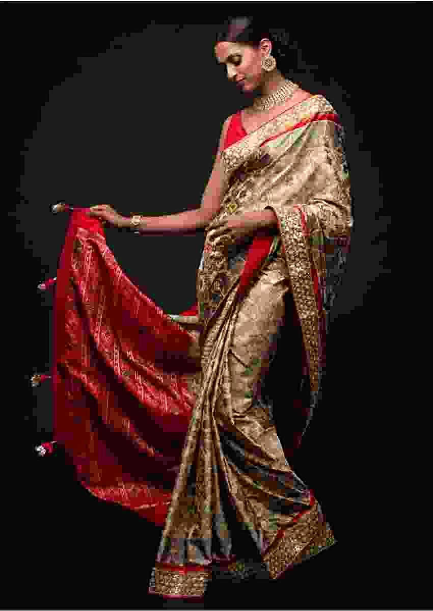 Sand Beige Saree In Silk With Ikkat Weaved Patola Pattern And Embroidery Work Online - Kalki Fashion