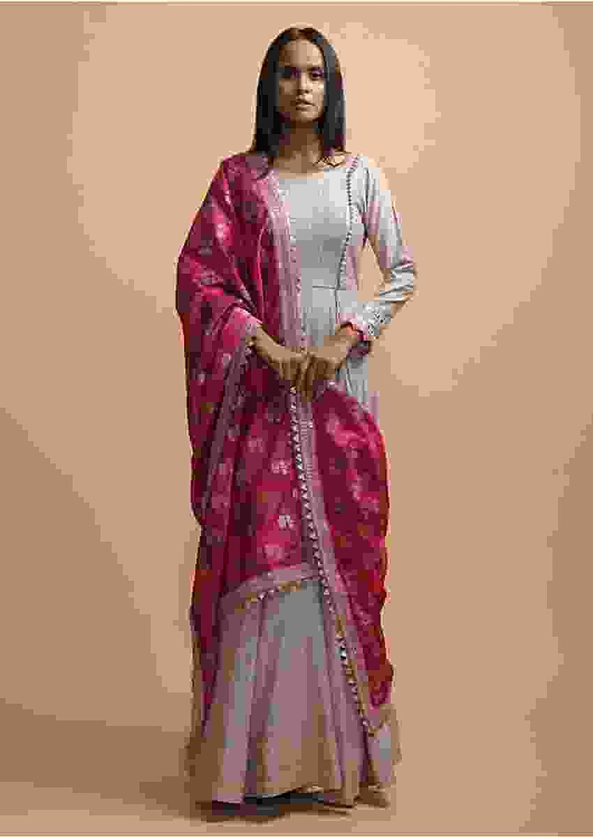 Sand Grey Angrakha Style Anarkali Suit In Cotton With Woven Stripes Magenta Brocade Dupatta Online - Kalki Fashion