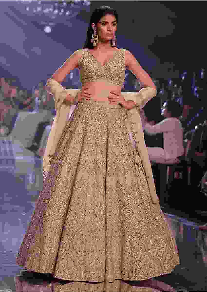 Sandcastle Tan Lehenga Choli With Hand Embroidered Moroccan Pattern Online - Kalki Fashion