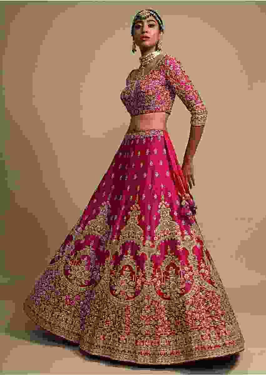 Sangria Pink Lehenga Choli With Thread Embroidered Heritage Floral Kalis Online - Kalki Fashion