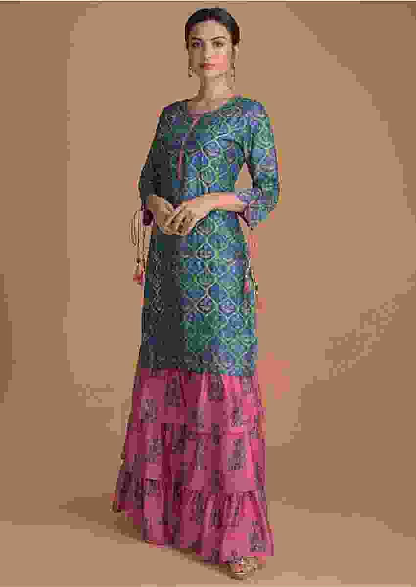 Sapphire Blue Kurti And Pink Sharara Bottoms With Floral Print Online - Kalki Fashion
