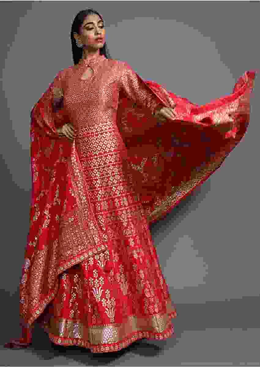 Scarlet Red Anarkali Suit In Silk With Weaved Floral Design And Matching Banarasi Dupatta Online - Kalki Fashion