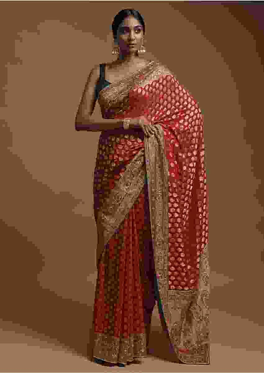 Scarlet Red Banarasi Saree In Georgette With Weaved Buttis And Green Thread Work On Border Online - Kalki Fashion