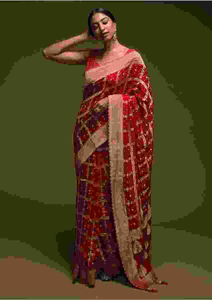 Scarlet Red Banarasi Saree In Georgette With Woven Checks And Bandhani Design Online - Kalki Fashion