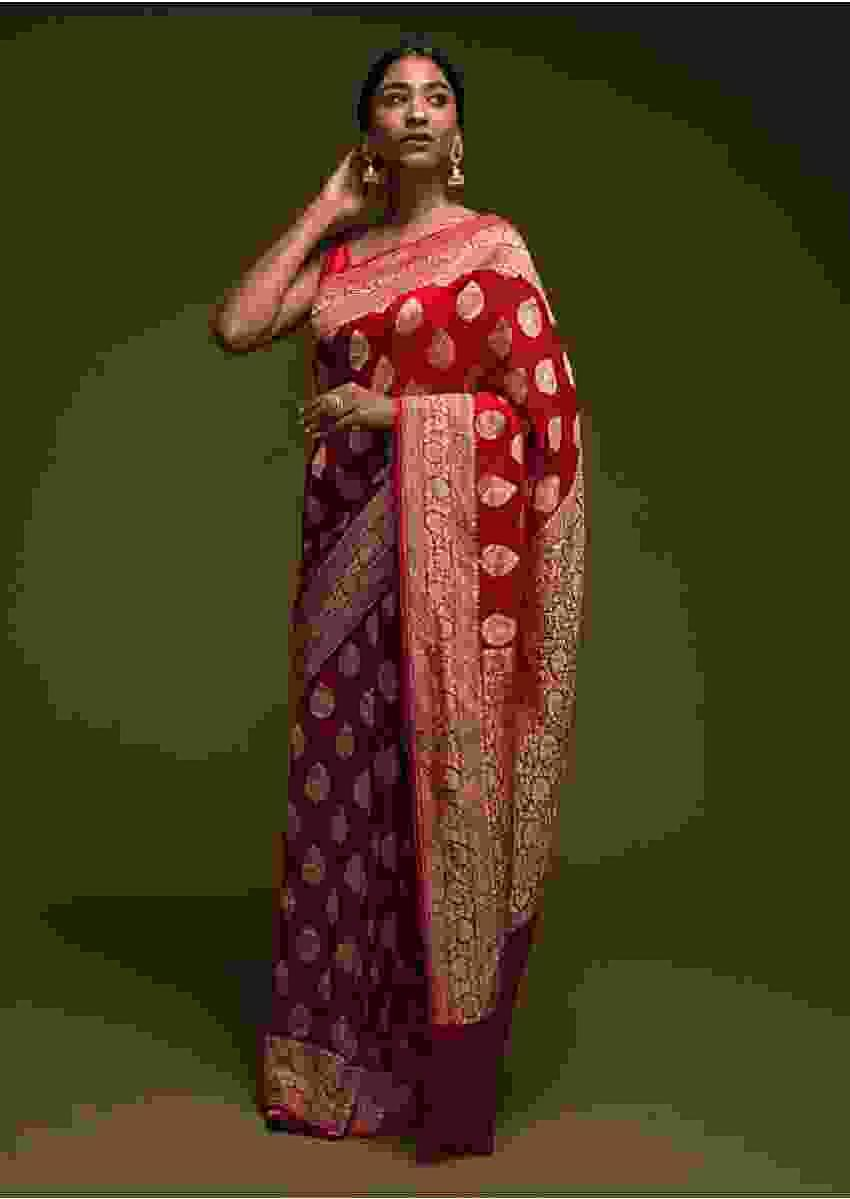 Scarlet Red Banarasi Saree In Georgette With Woven Leaf Shaped Buttis Online - Kalki Fashion