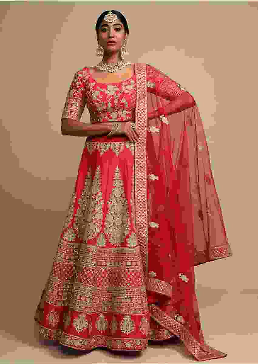 Scarlet Red Lehenga Choli In Raw Silk With Zari Embroidered Floral Kalis And Ethnic Border Online - Kalki Fashion