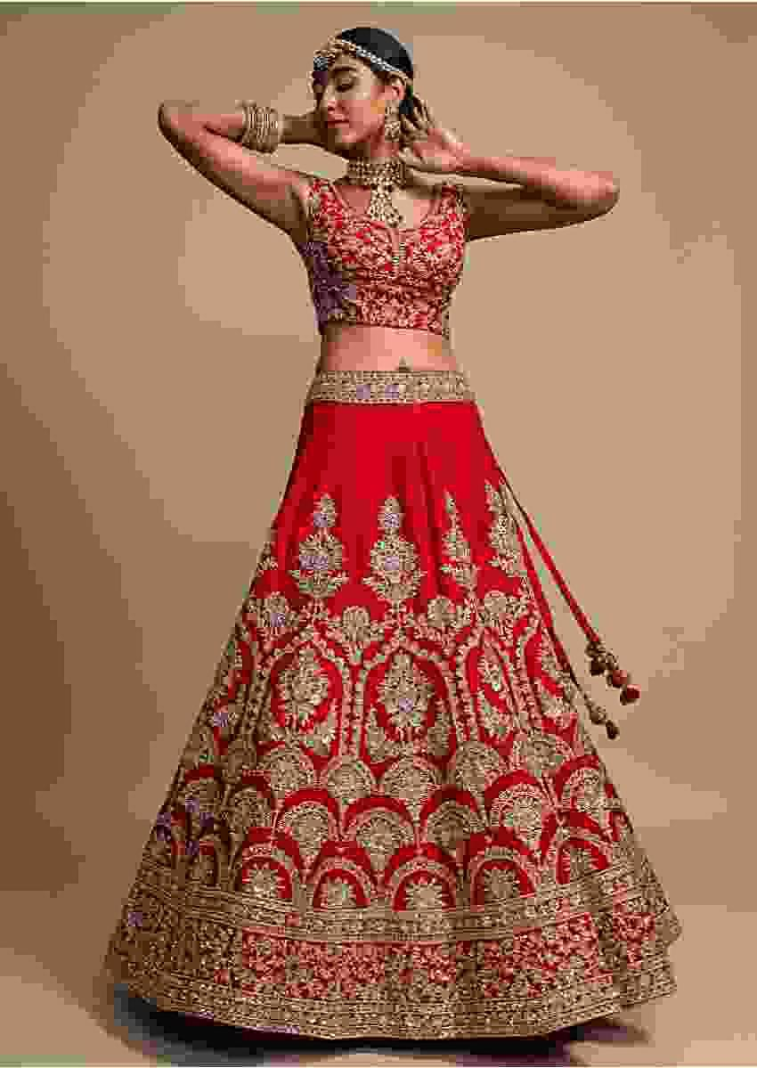 Scarlet Red Lehenga Choli In Raw Silk With Zari Embroidered Heritage Floral Kalis Online - Kalki Fashion