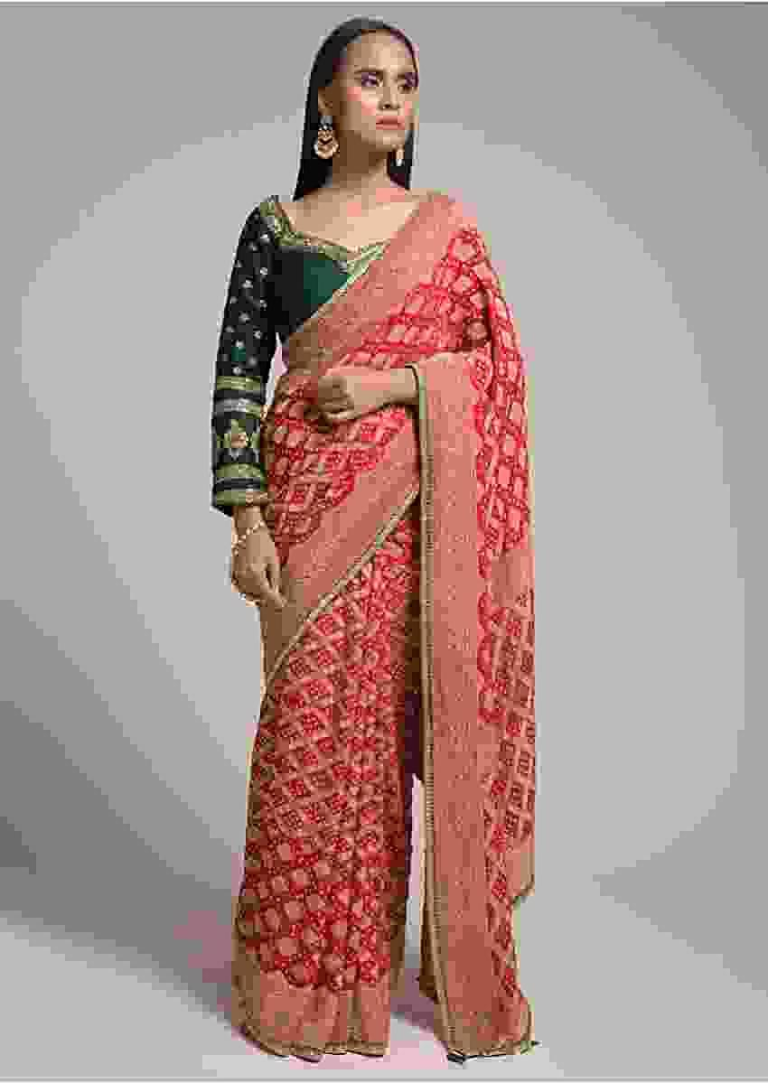 Scarlet Red Saree In Georgette With Bandhani Print And Brocade Mesh Design Online - Kalki Fashion