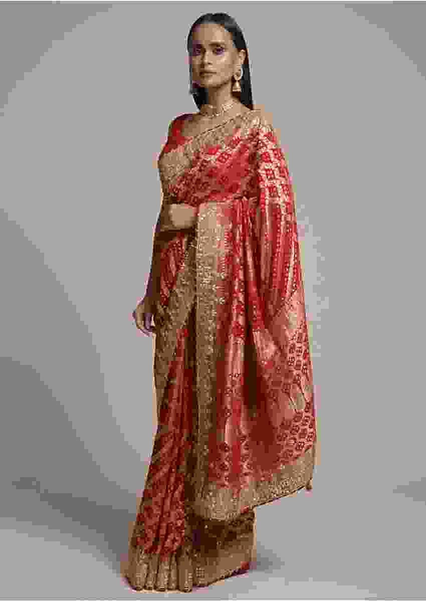 Scarlet Red Saree In Georgette With Woven Bandhani Design And Jaal Work  Online - Kalki Fashion