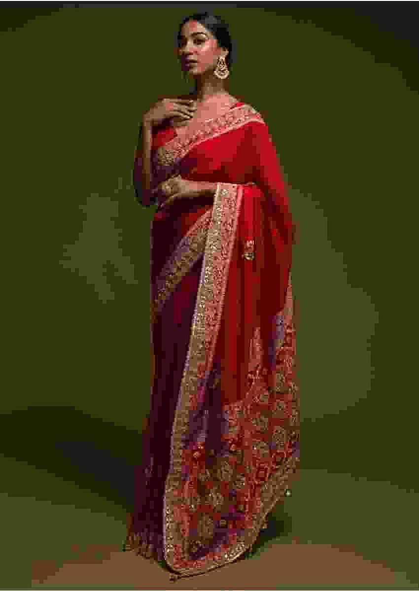 Scarlet Red Saree In Georgette With Woven Buttis And Bandhani Online - Kalki Fashion