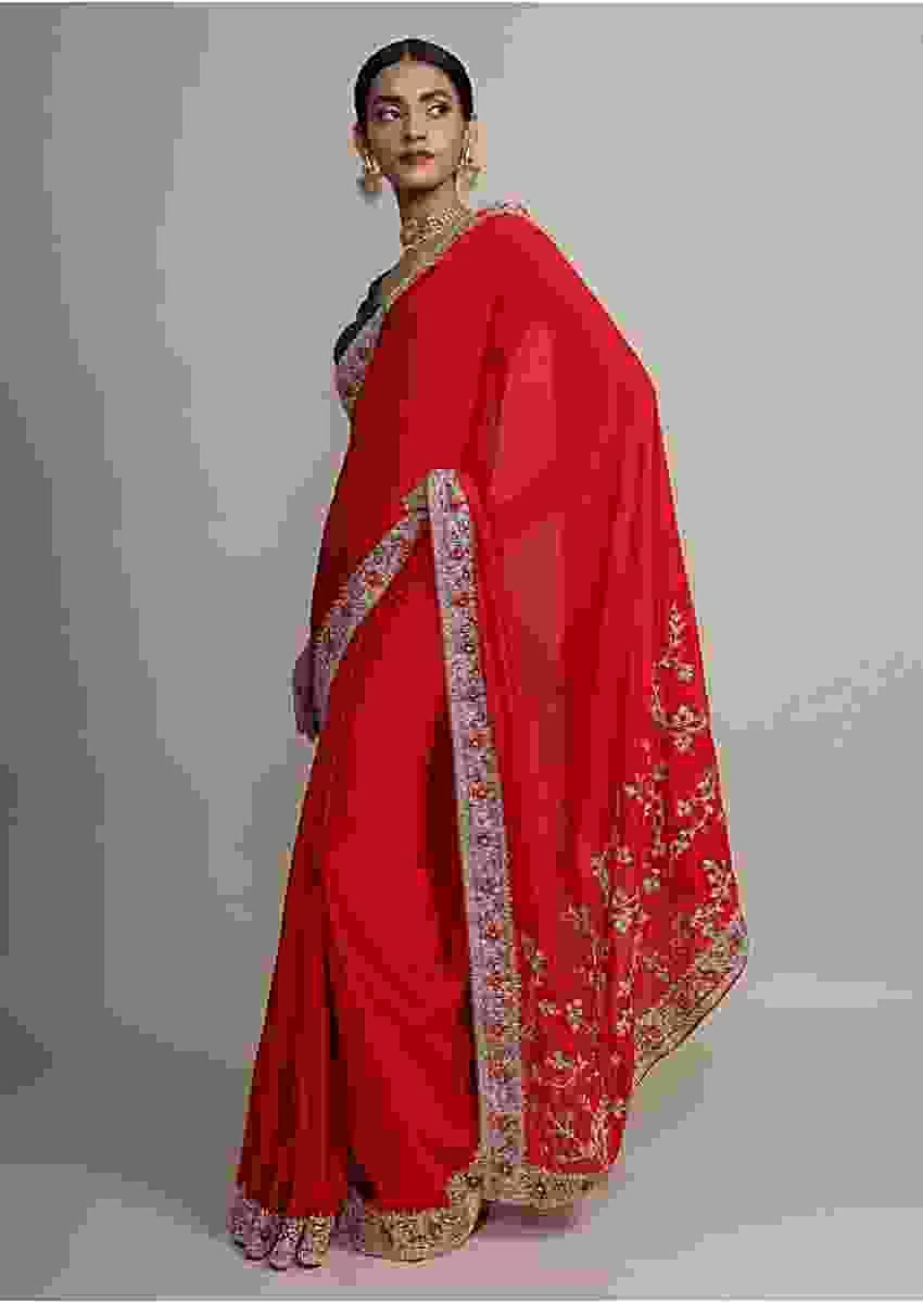 Scarlet Red Saree In Satin Crepe With Zardozi Embroidered Floral Border Online - Kalki Fashion