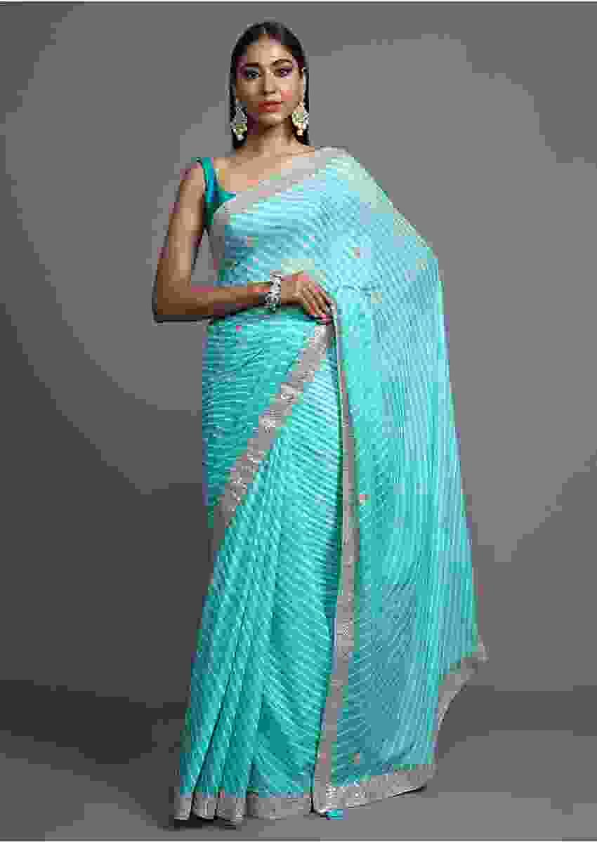 Sea Blue Saree With Lehariya Print And Gotta Patti Embroidered Buttis And Border Online - Kalki Fashion