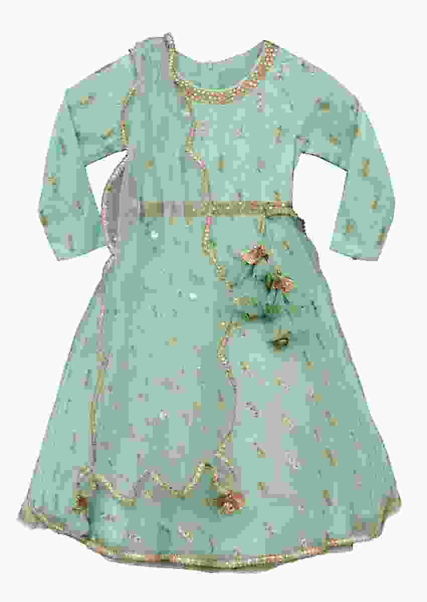 Sea Green Anarkali Suit In Net With Embroidered Buttis By Fayon Kids