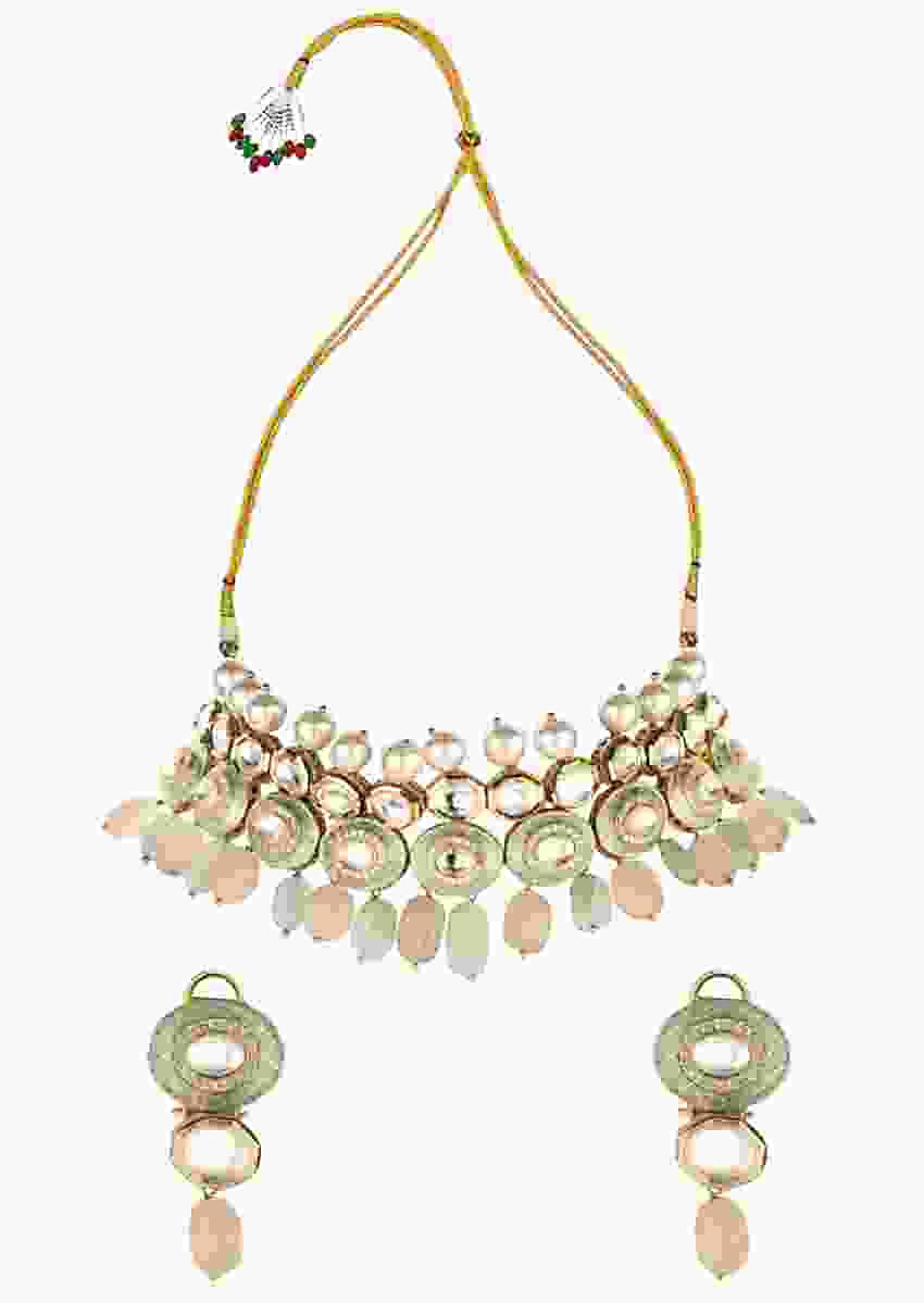 Sea Green Choker Necklace And Earrings Set With Enamel Work, Shell Pearls And Kundan Online - Joules By Radhika