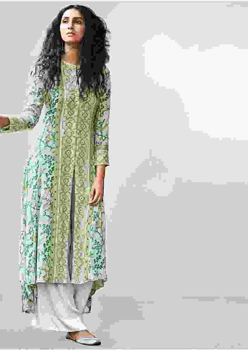 Sea green floral printed palazzo suit with center panel embroider and front slit