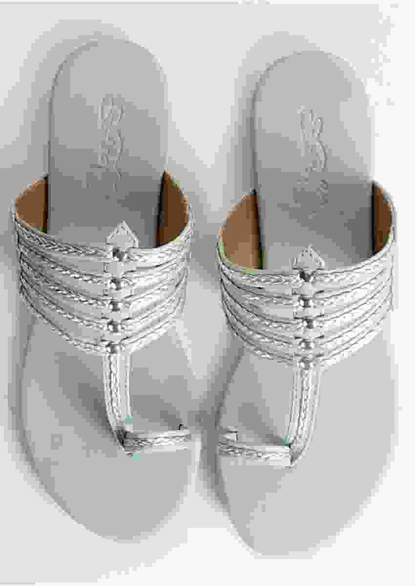 Sea Green Kolhapuri With Silver Braiding And Silver Rivets By Sole House