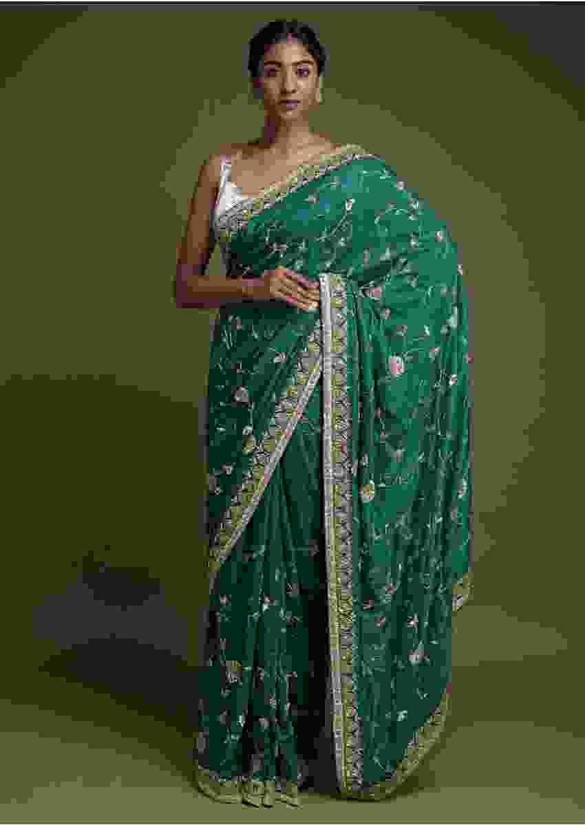 Sea Green Saree In Cotton Silk With Zardozi Embroidered Floral Pattern Online - Kalki Fashion