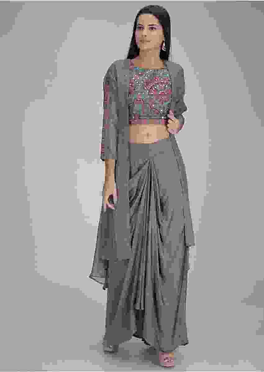 Seal Grey Skirt In Satin Silk With Embellished Crop Top And Jacket Online - Kalki Fashion