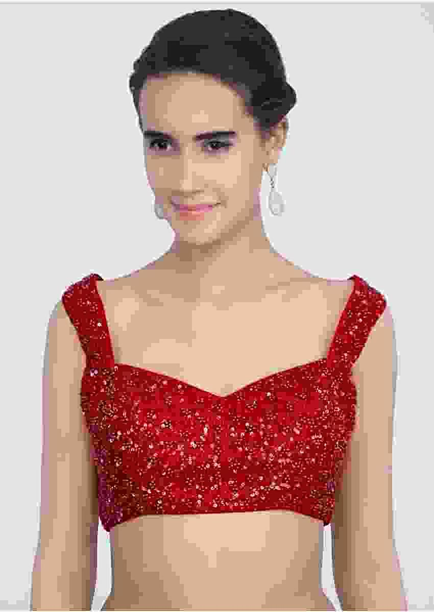 Red Blouse In Raw Silk With Sequins And Moti Embroidery Online - Kalki Fashion