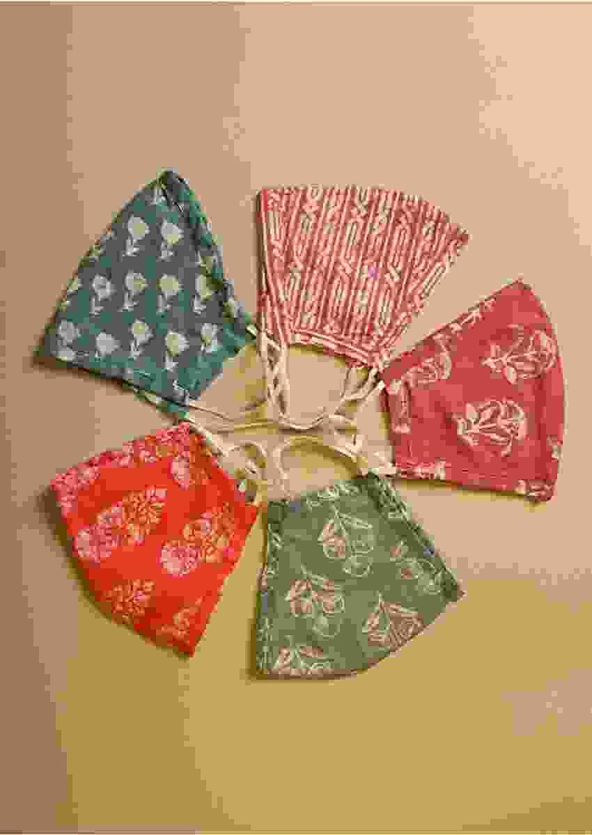 Set Of 5 Multicolored Face Masks In Cotton With Beautiful Batik And Block Prints Online - Kalki Fashion