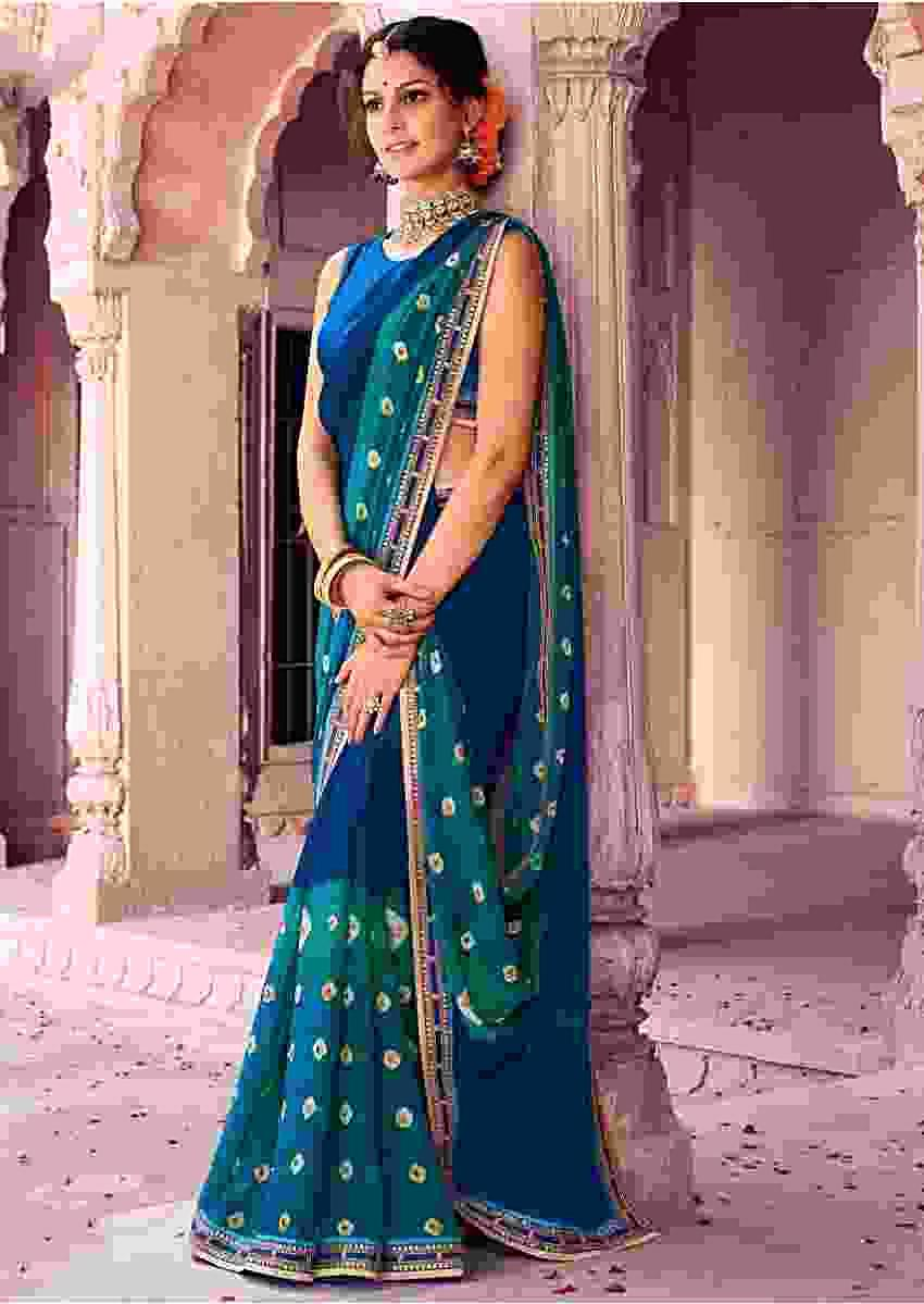Shaded Blue Saree In Georgette With Bandhani Print Online - Kalki Fashion