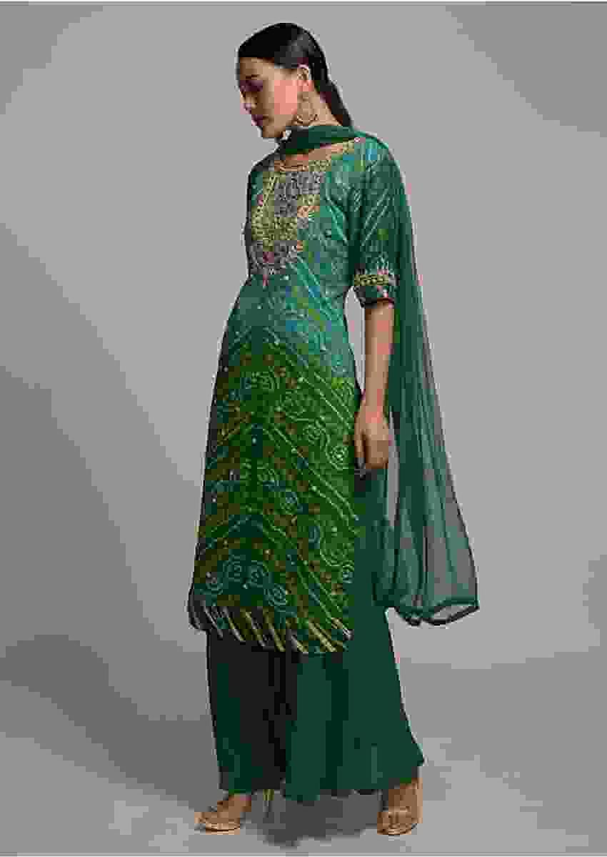 Shaded Green Straight Cut Sharara Suit With Bandhani Print And Gotta Patti Work Online - Kalki Fashion