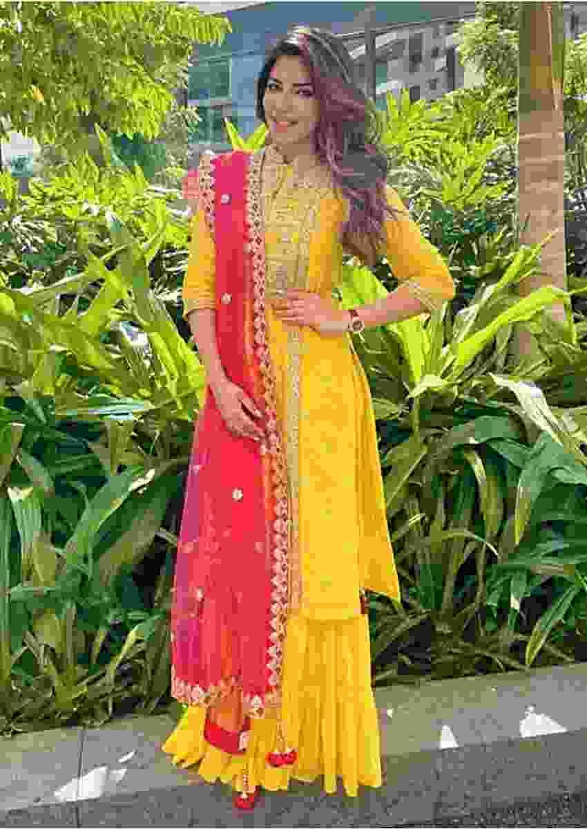 Shama Sikander In Kalki Sun Yellow Sharara Suit In Cotton Enhanced With Gotta Patches Embroidered Floral Pattern