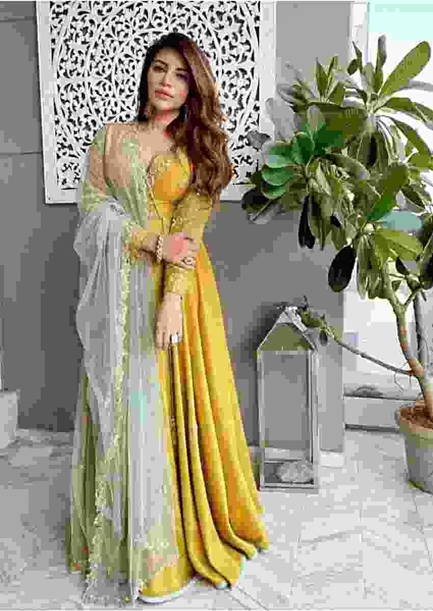 Shama Sikender In Kalki Yellow Raw Silk Angrakha Style Suit With Powder Blue Net Dupatta