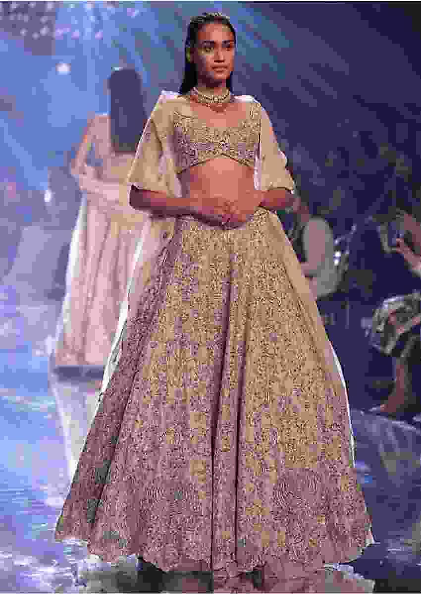 Shell Champagne Lehenga In Raw Silk With Heavy Hand Embroidery And Fancy Cut Hem Online - Kalki Fashion