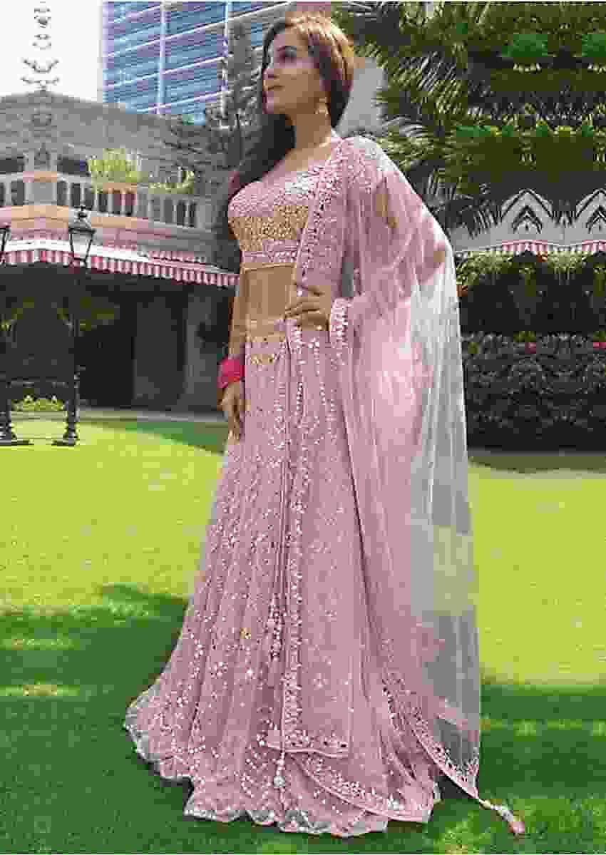 Shiny Doshi in Kalki Powder Pink abla embroidered net lehenga set