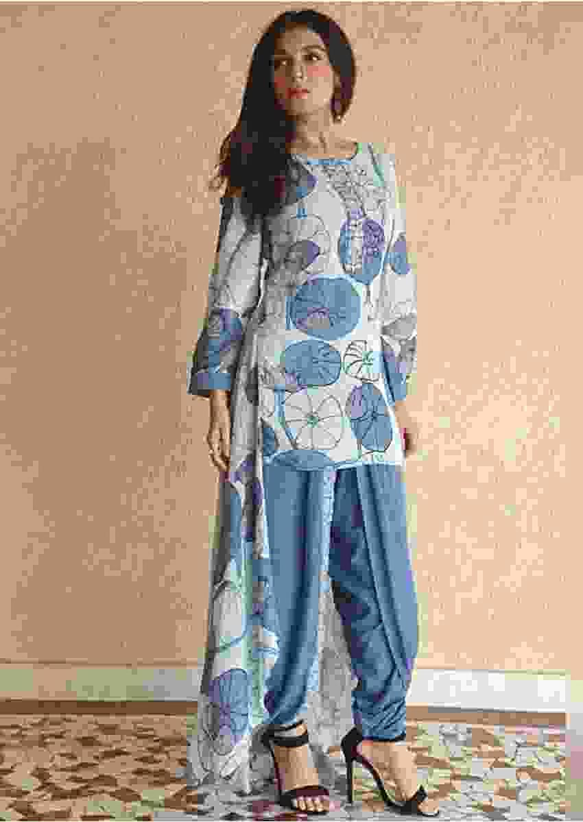 Shiny Doshi In kalki Ice Blue High Low Kurti With Stylised Floral Print And Steel Blue Dhoti Pants