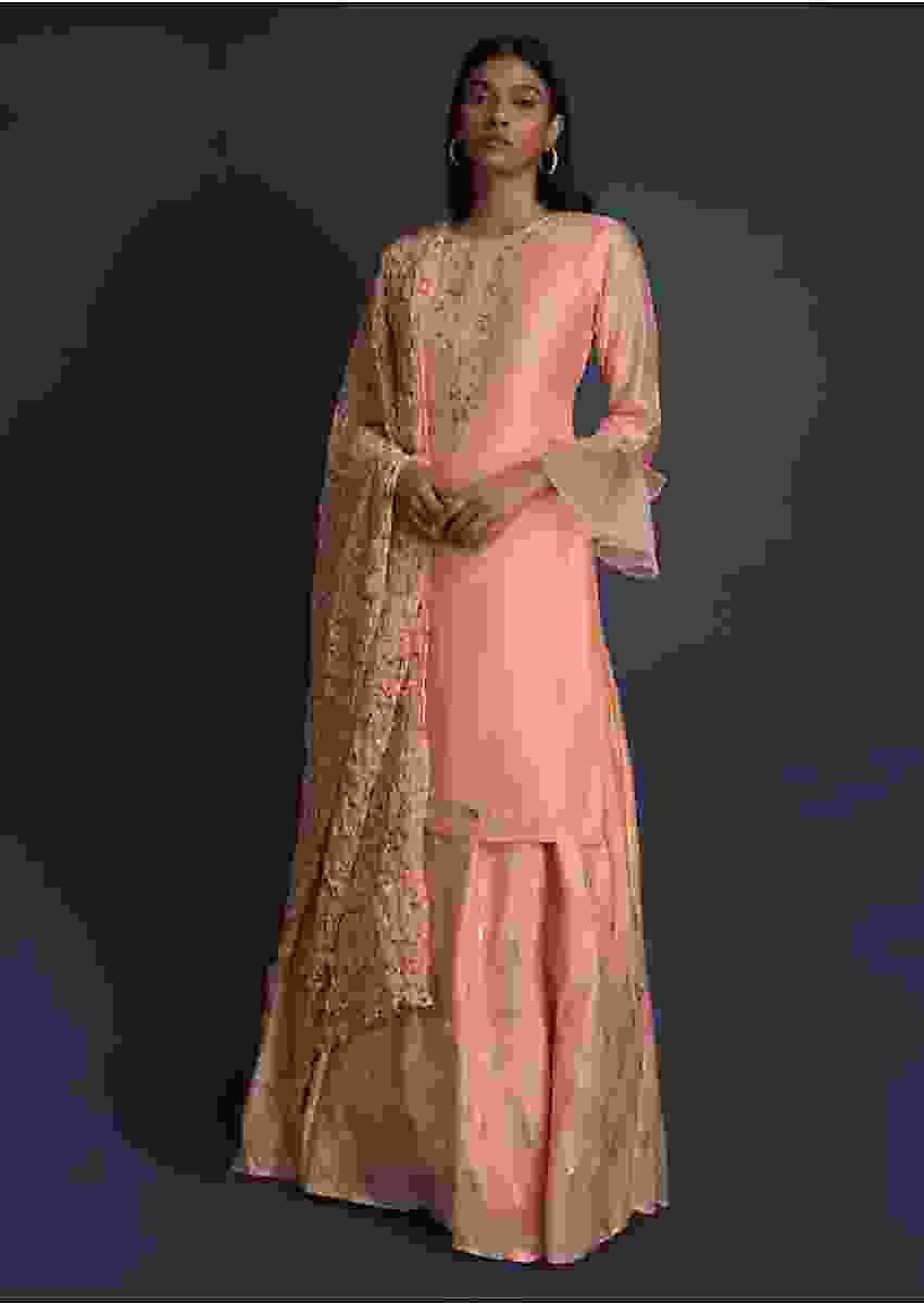 Shrimp Peach Lehenga And Kurta With Embroidered Floral Pattern Online - Kalki Fashion