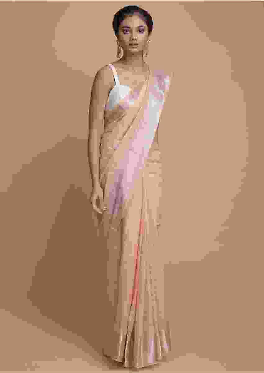 Shrimp Peach Saree In Organza Silk With Weaved Border And Embroidered Buttis Online - Kalki Fashion