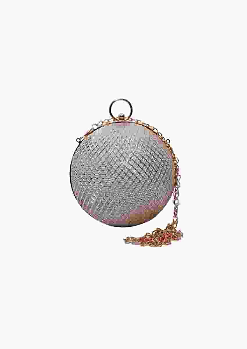 Silver Ball Clutch In Metal With Mesh Design By Pink Cocktail