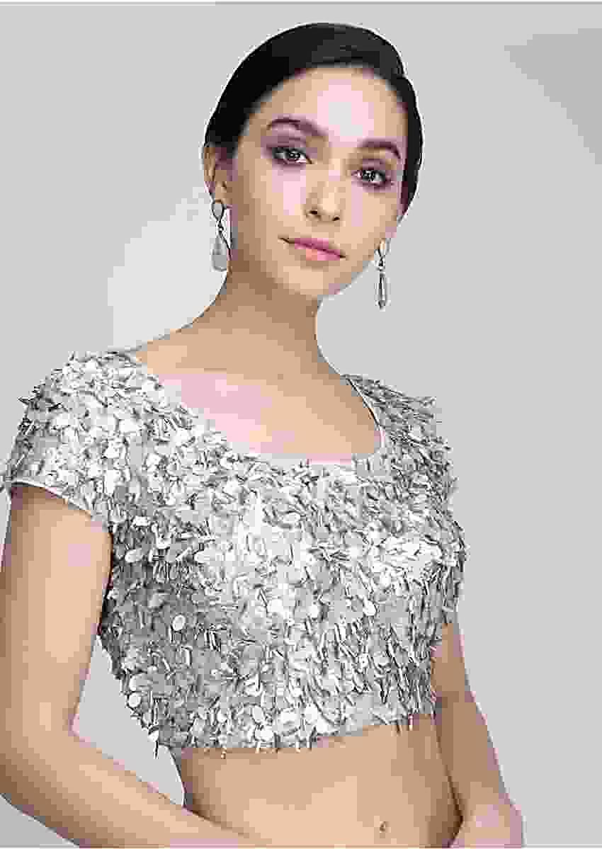 Silver Blouse Heavily Embellished With Self Sequins Work Online - Kalki Fashion