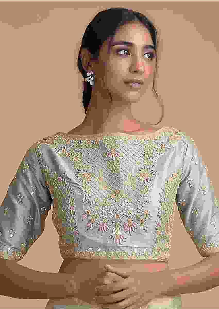 Silver Blue Blouse In Raw Silk With Zardosi And Gotta Patti Embroidered Floral Pattern Online - Kalki Fashion