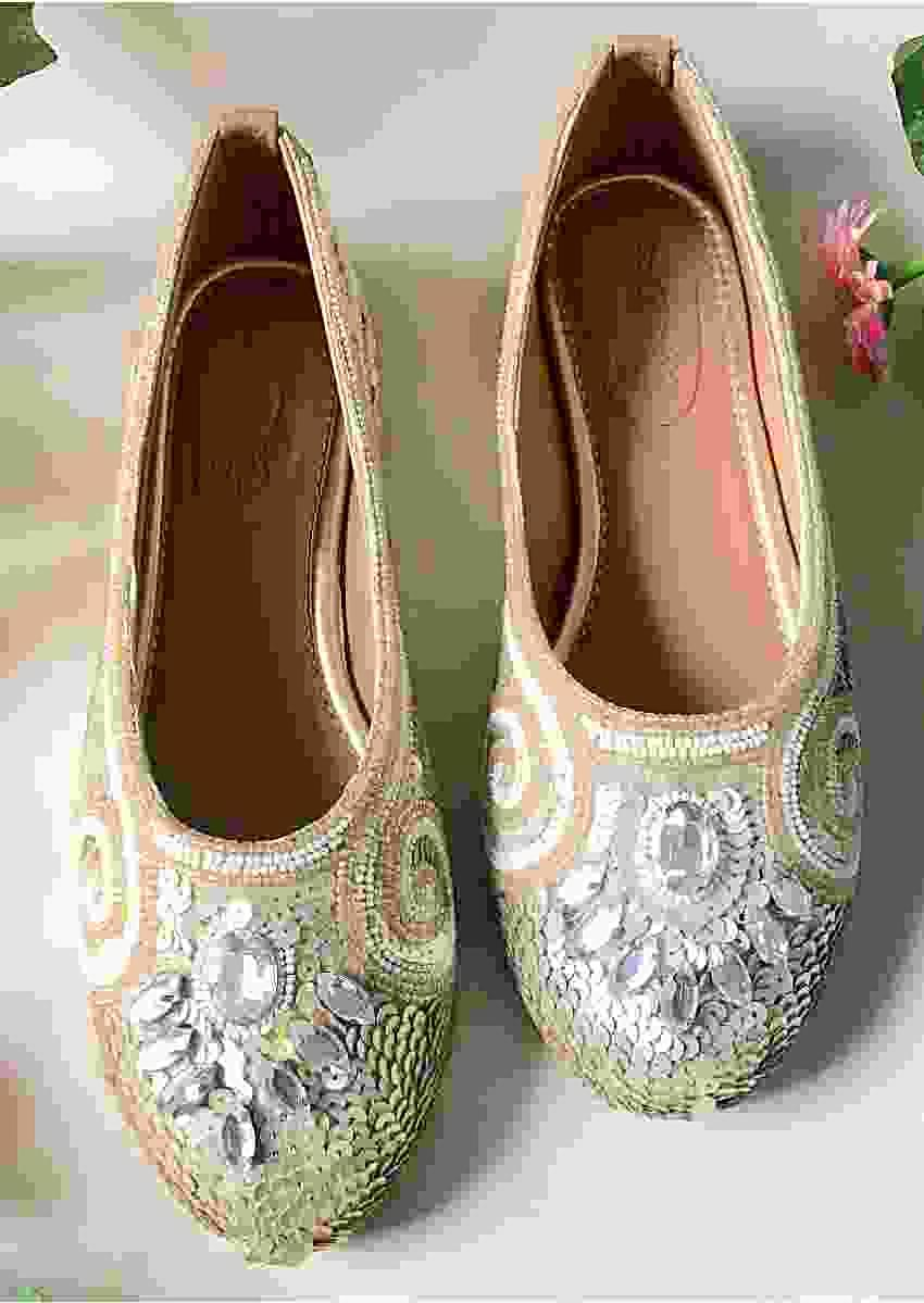 Silver Designer Ballet Flats With Sequins, Stone And Beads Detailing By Sole House