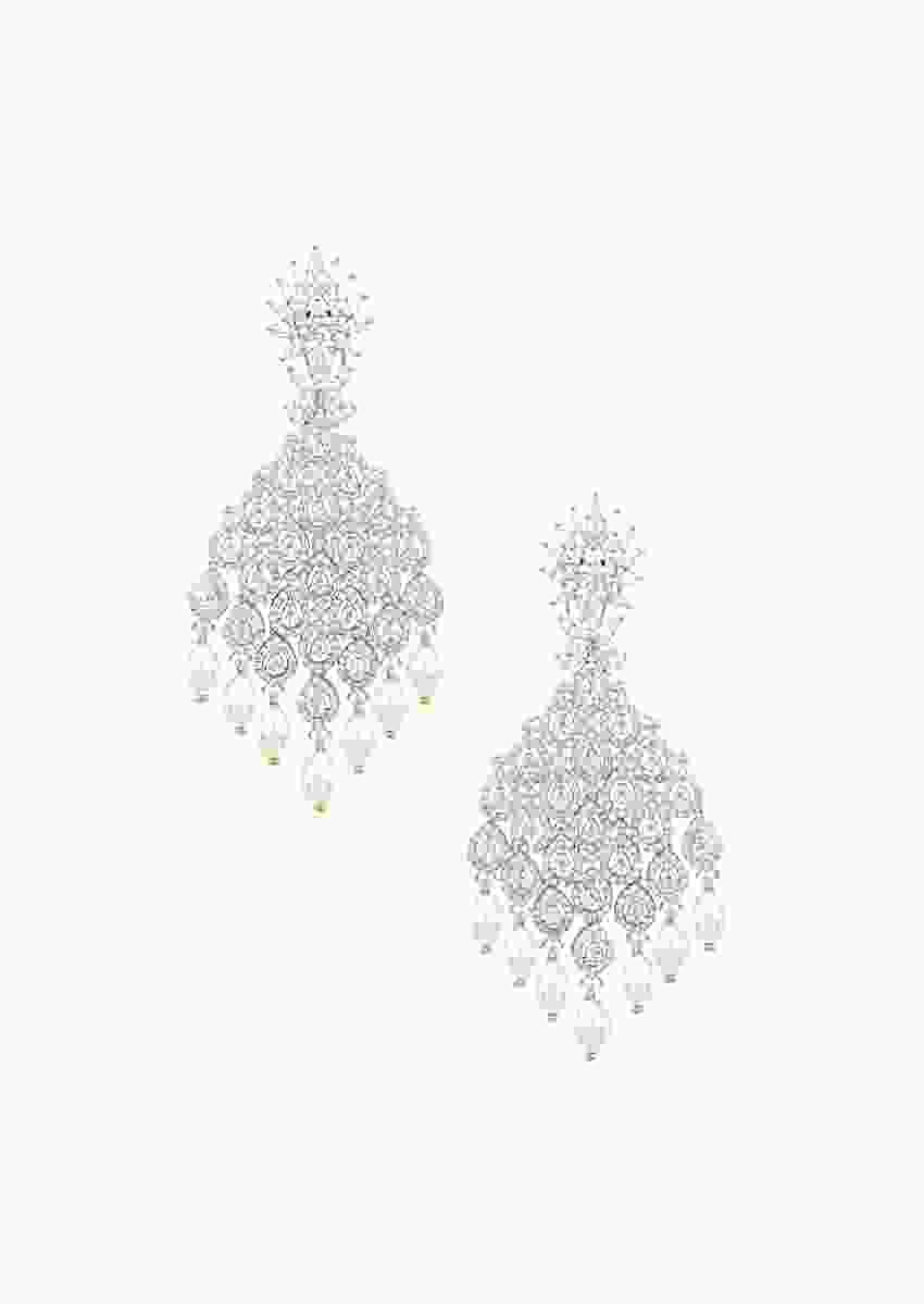 Silver Finish Dangler Earrings With White Diamond Zircon Stones And Pearls By Aster