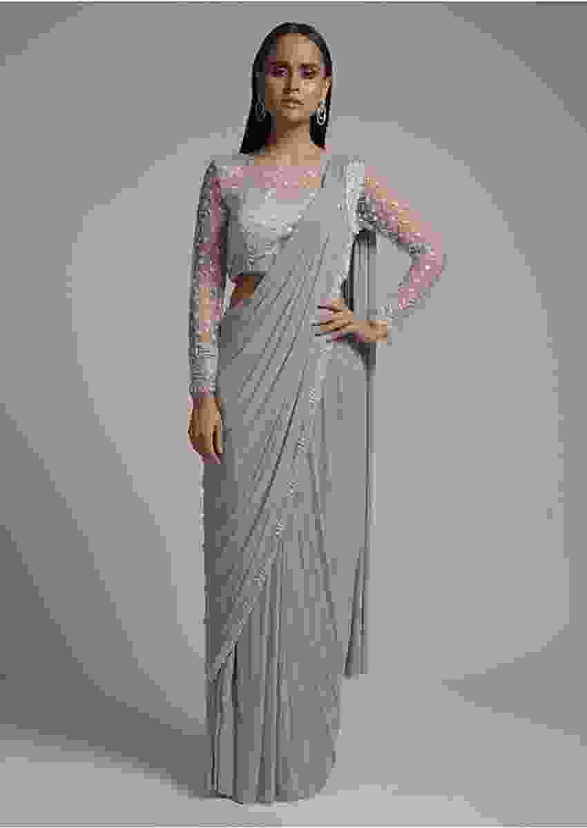 Silver Grey Ready Pleated Saree With Designer Blouse Embellished Using Cut Dana Work Online - Kalki Fashion