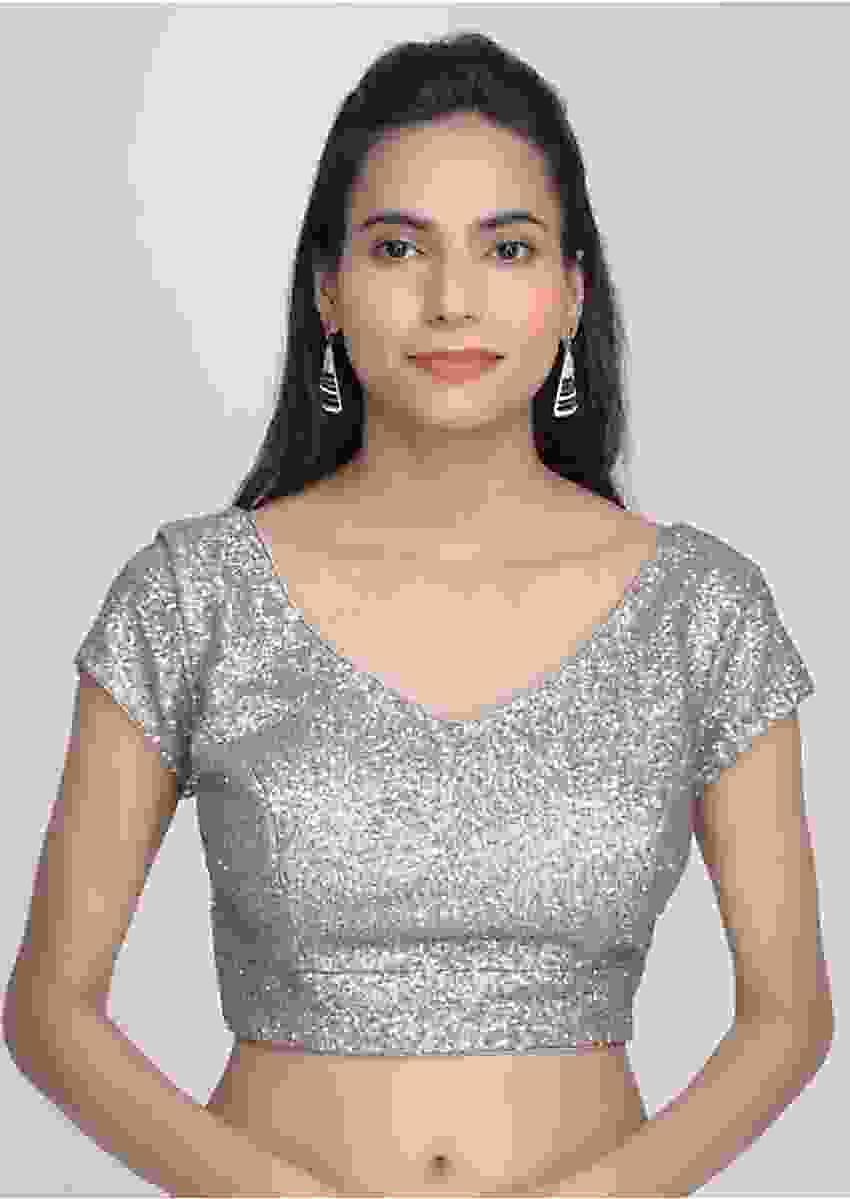 Silver Grey Blouse In Sequins Fabric Online - Kalki Fashion