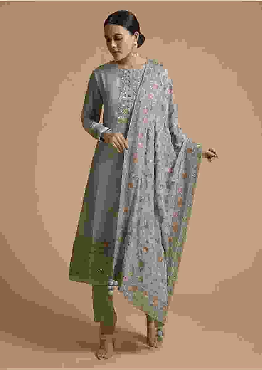 Silver Grey Straight Cut Suit With Colorful Resham Embroidered Floral Design On The Border And Dupatta Online - Kalki Fashion