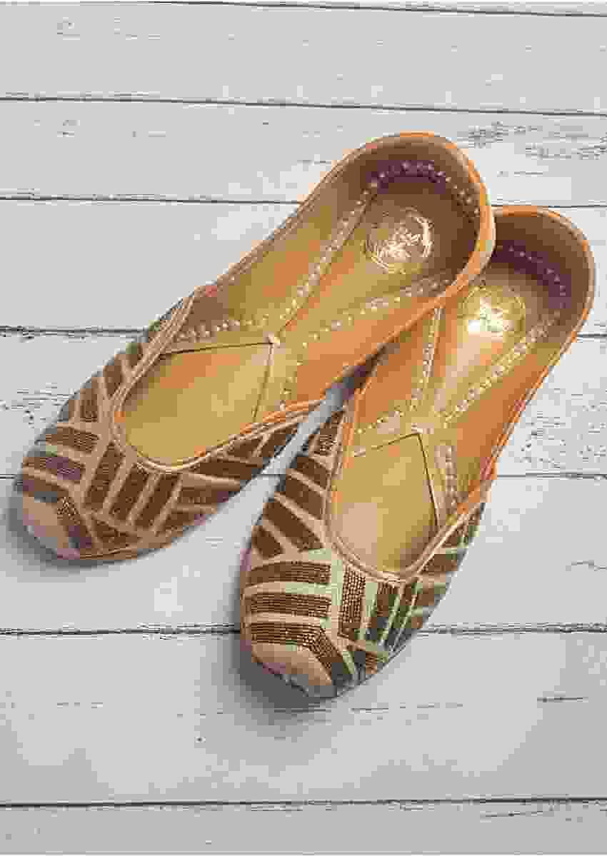 Silver Juttis In Banarasi Silk With Antique Gold Toned Cut Dana Work In Geometric Pattern By Vareli Bafna