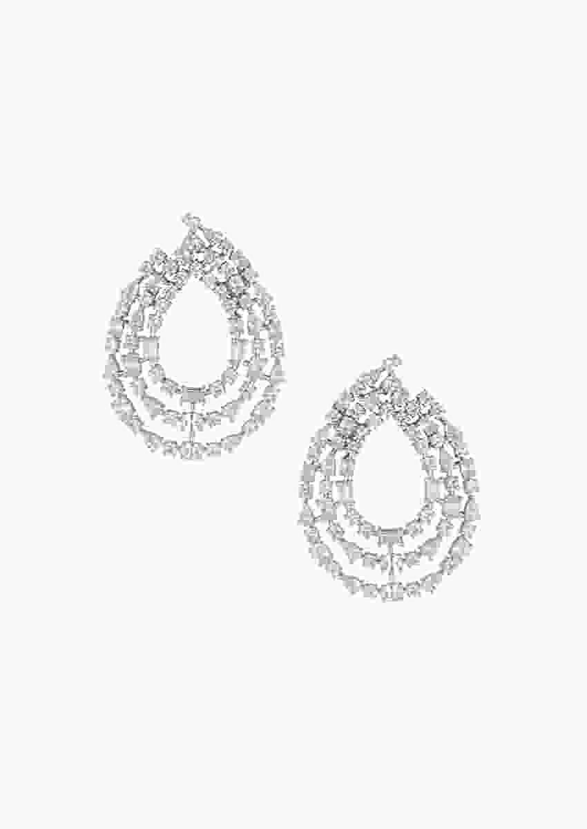 Silver Plated 3 Line Earrings In Drop Shape Studded With Faux Solitaire Diamonds By Aster