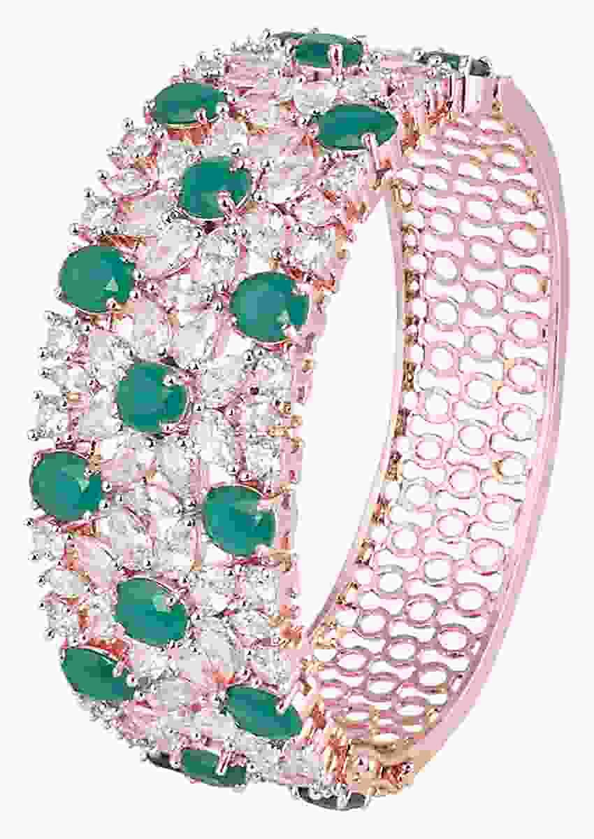 Silver Plated Bracelet With Cut Out Details Studded With Faux Emeralds And Diamonds By Aster