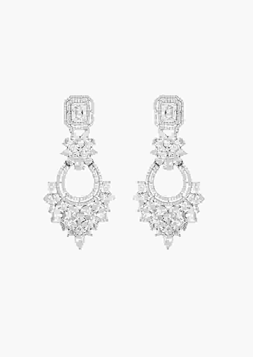 Silver Plated Chandelier Earrings Studded With Faux Diamond By Aster