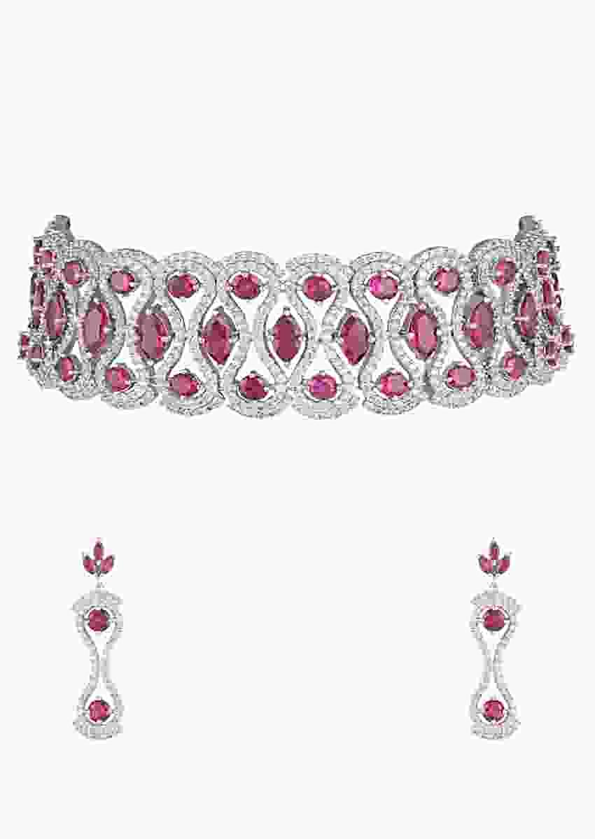 Silver Plated Choker Necklace And Earrings Set With Faux Diamonds And Rubies In Modern Design By Aster