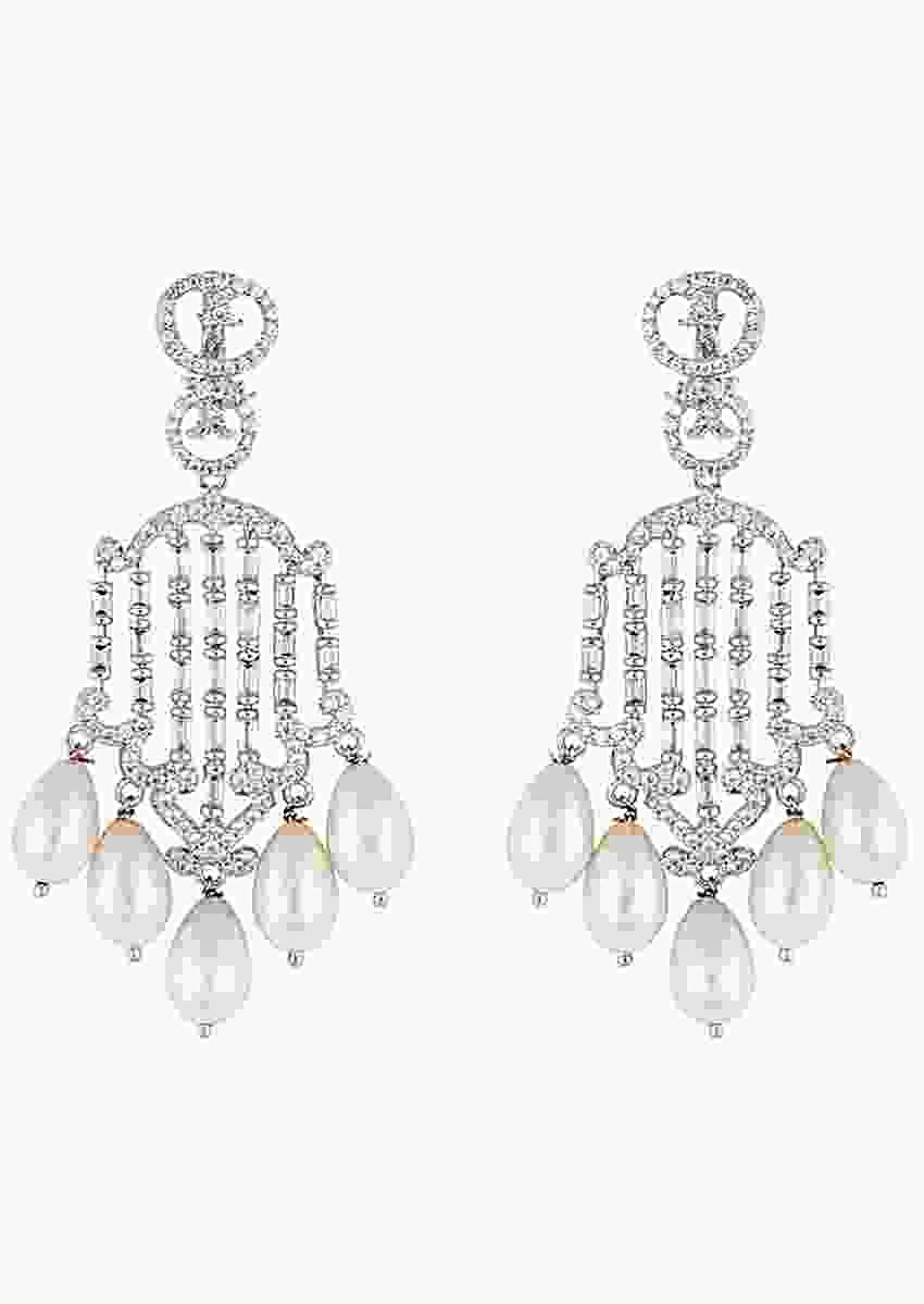 Silver Plated Dangler Earrings Studded With Faux Diamond And Moti By Aster