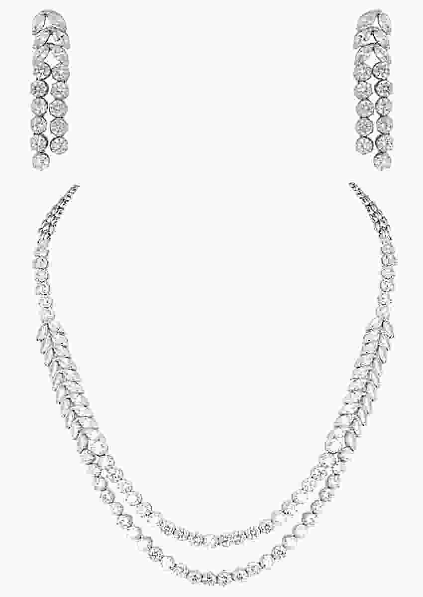 Silver Plated Double Layered Necklace And Earrings Set With Faux Solitaire Diamonds By Aster