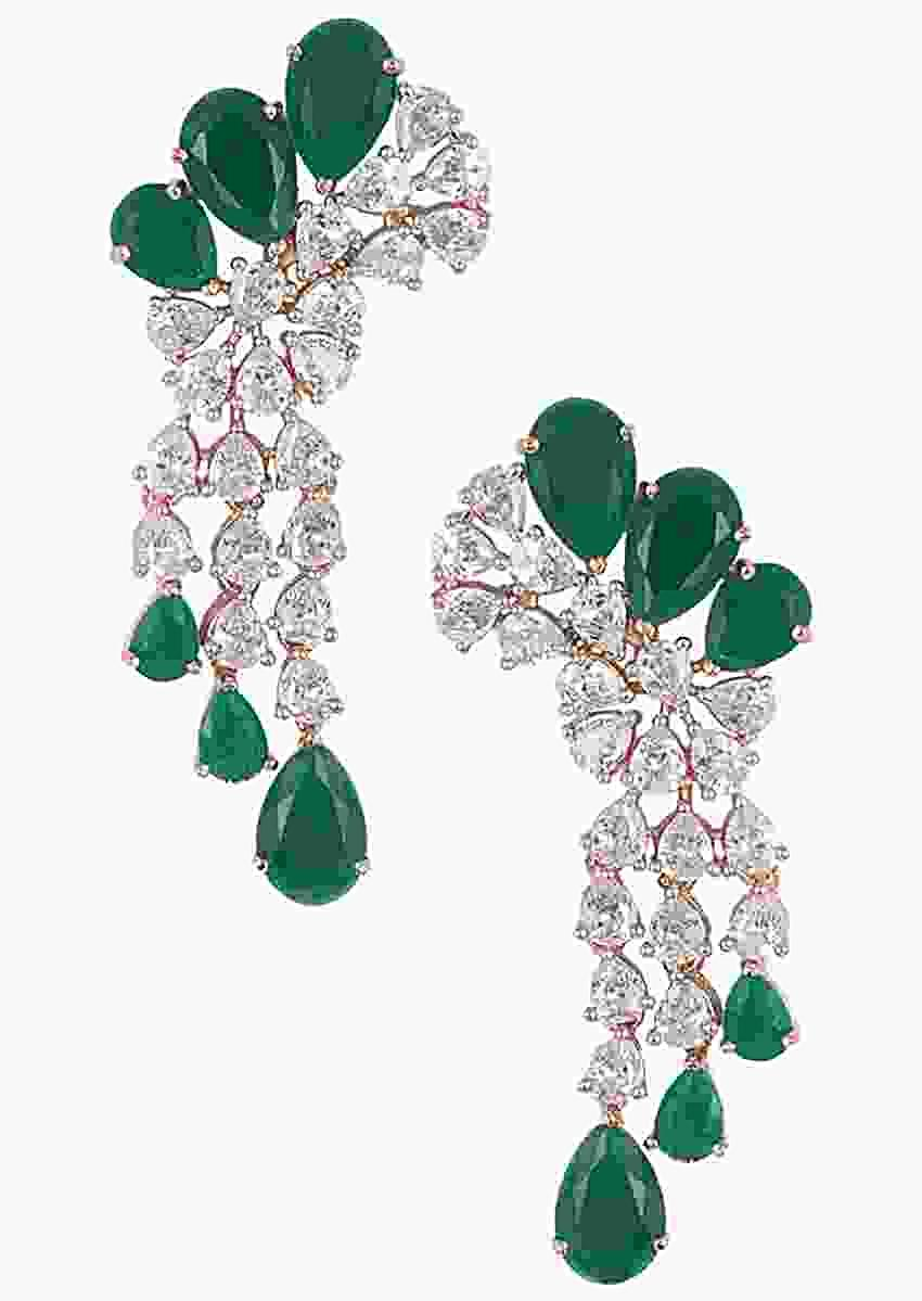Silver Plated Earrings In A Modern Design With Faux Diamonds And Emeralds By Aster